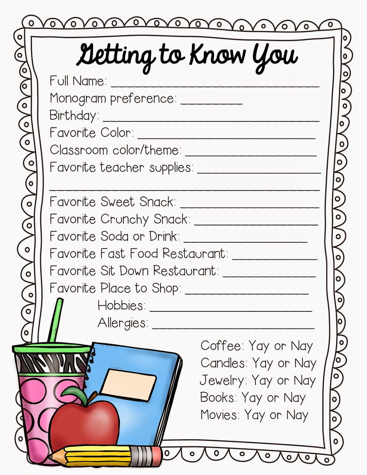 Getting To Know The Teacher Freebie