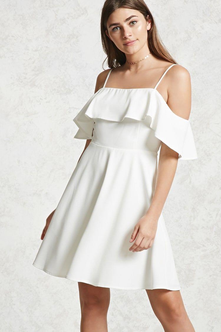 Offtheshoulder flounce dress forever pinterest shoulder