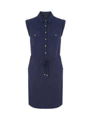 Navy Popper Front Sleeveless Shirt Dress  | New Look