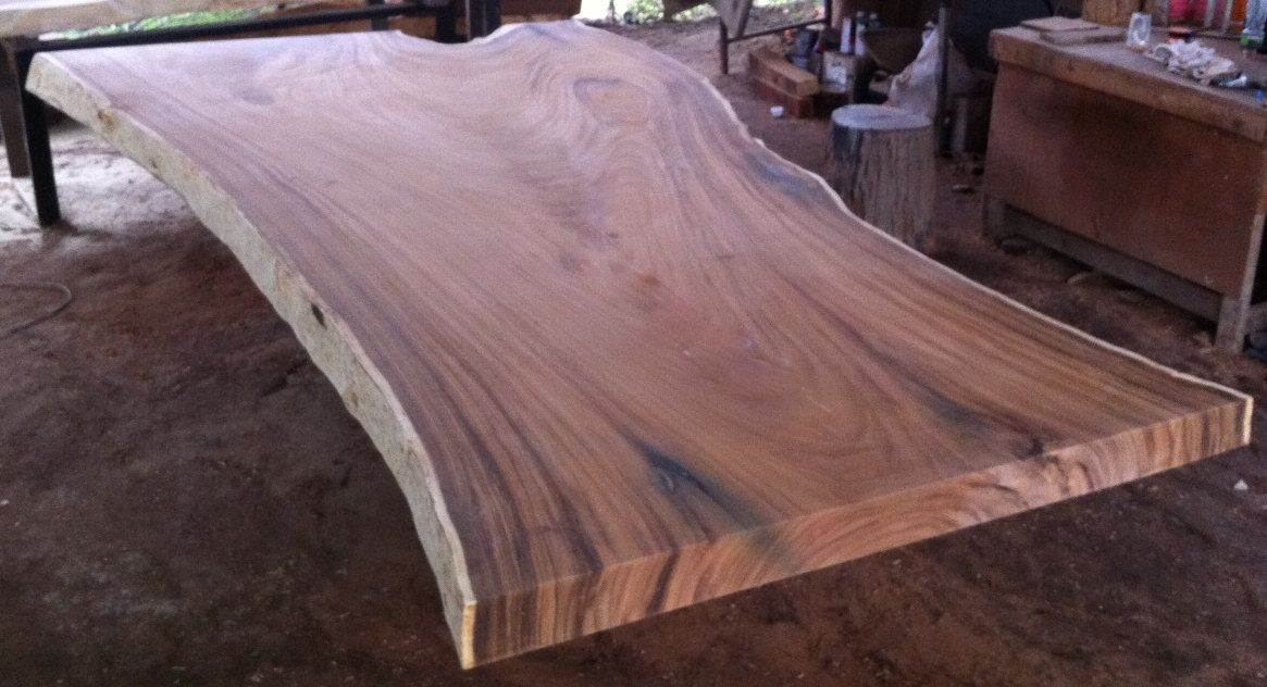 Great Live Edge Dining Table Top Reclaimed Rare Solid Slab Of Golden Acacia Wood  Of Thailand 3.15