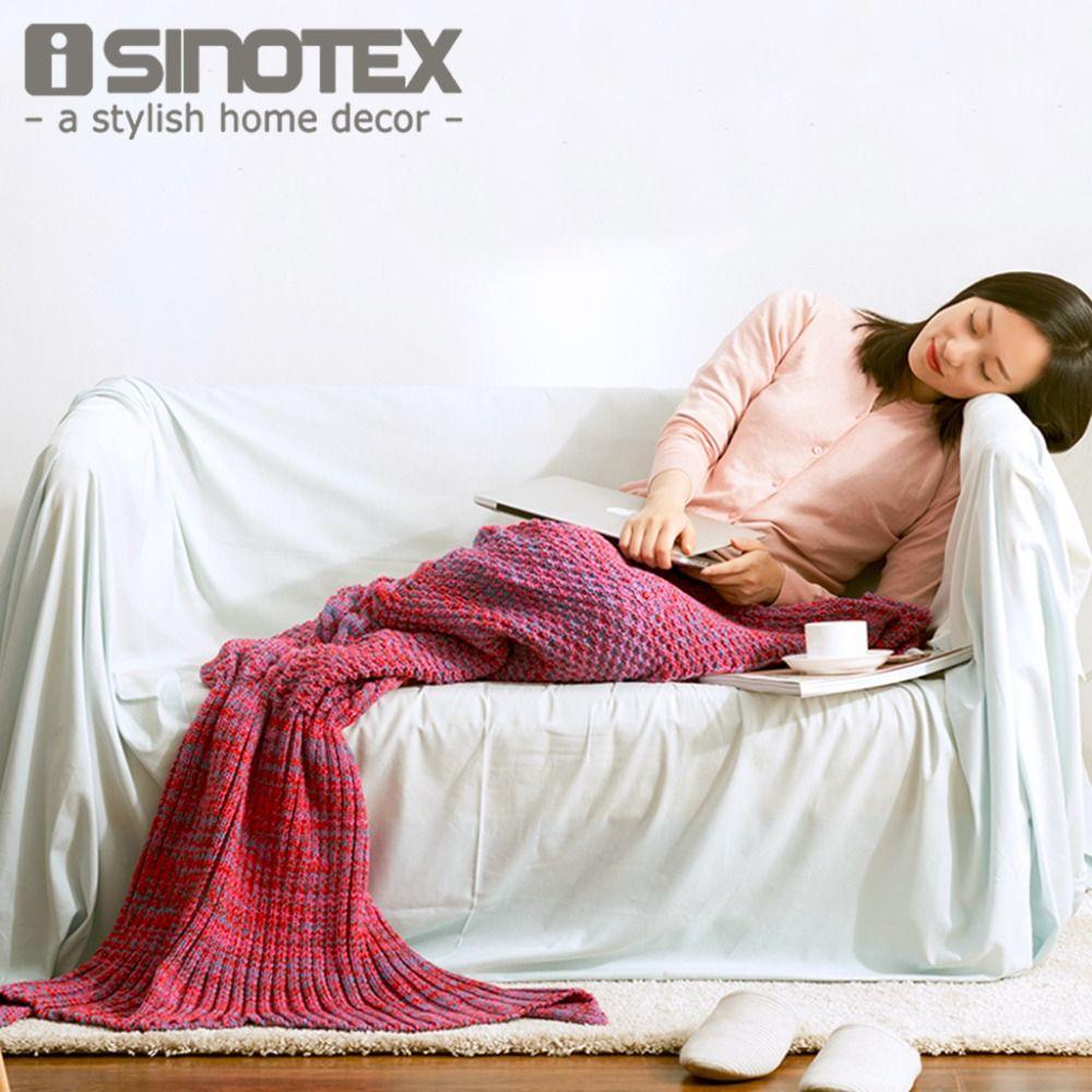 Mermaid Tail Blanket Crochet Knitted Handmade Throw Bed ...