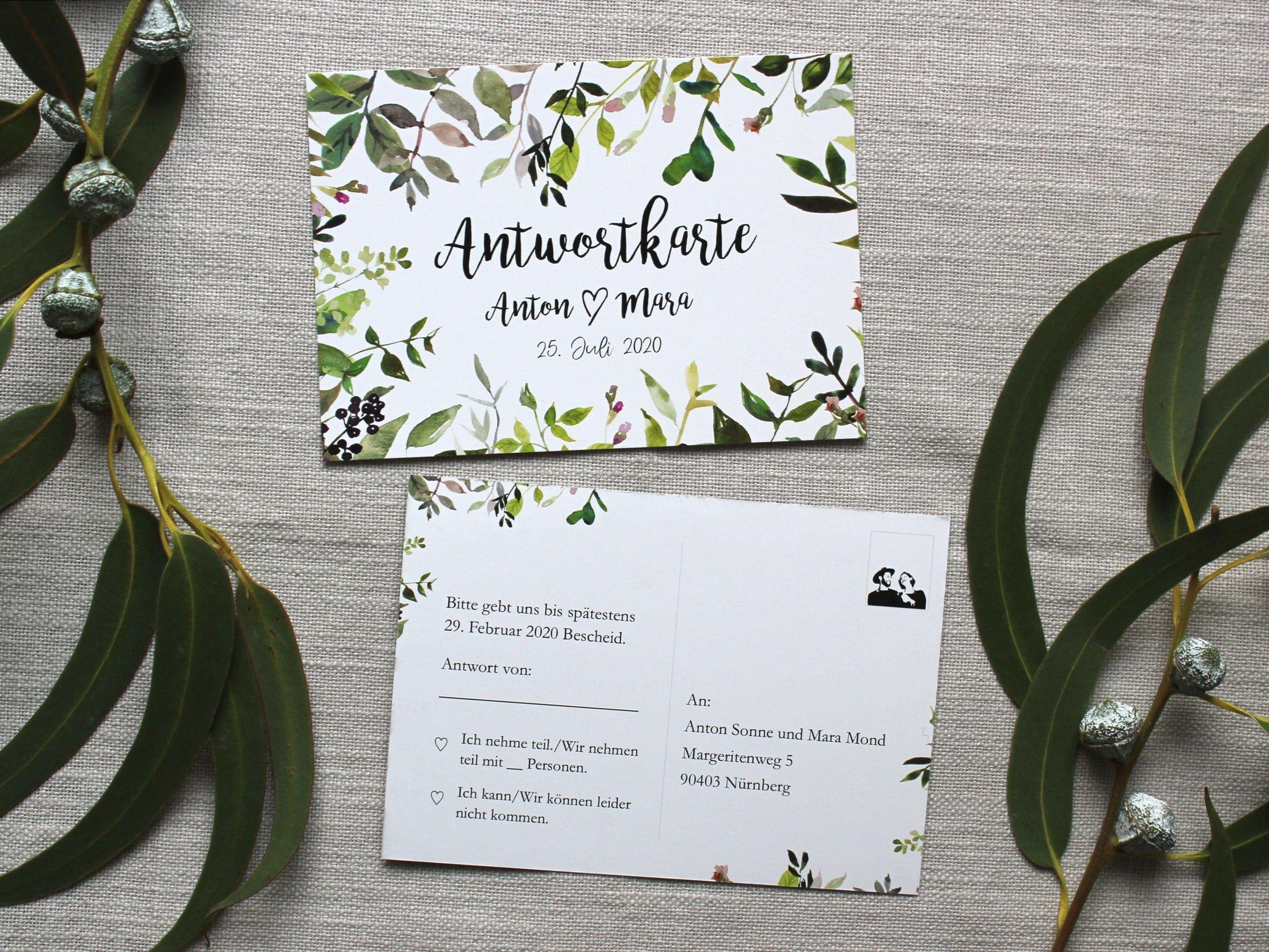 Greenery Answer Card For Wedding Invitation Postcard Answer Cards Wedding Response Invitation Invitation Cards Wedding Antwortkarten Postkarte Hochzeitseinladung Hochzeit Antwortkarten