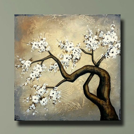 Beautiful Flowering Tree Cherry Blossom Painting With Heavy Etsy Cherry Blossom Painting Flowering Trees Cherry Blossom Flowers