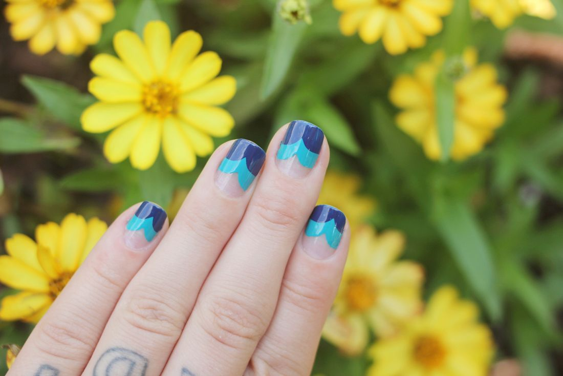 """Ocean nails from The Dainty Squid: Sally Hansen """"Thinking of Blue""""  """"Fresh Teal""""."""