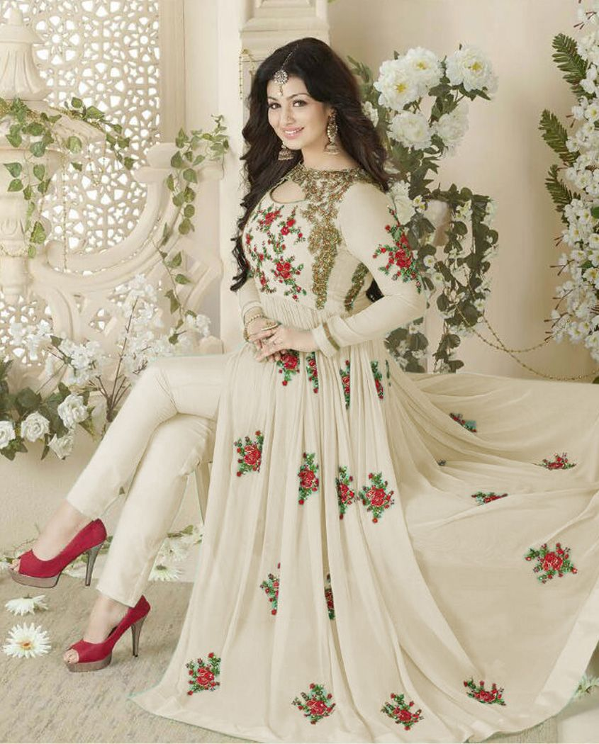 f924d45c714 Cream georgette front slit anarkali suit 2. Floral Embroidery all over 3.  Comes with a matching chiffon dupatta and bottom 4. Can be stitched upto  size 42 ...