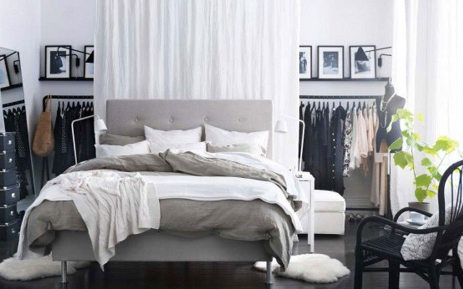 Bedroom Brilliant E Saving Ideas For Small Bedrooms With Stylish Bed Design Combined Grays Tufted Head Boards Also Bedding Behind White Drapery