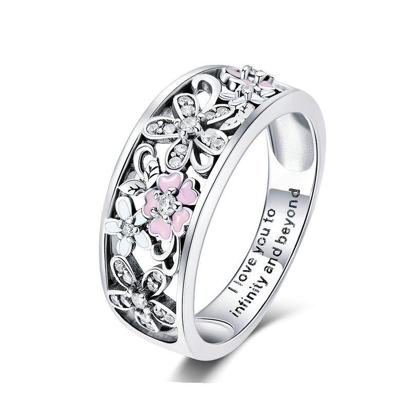 Daisy Flower Infinity Love Pave Finger Rings for Women