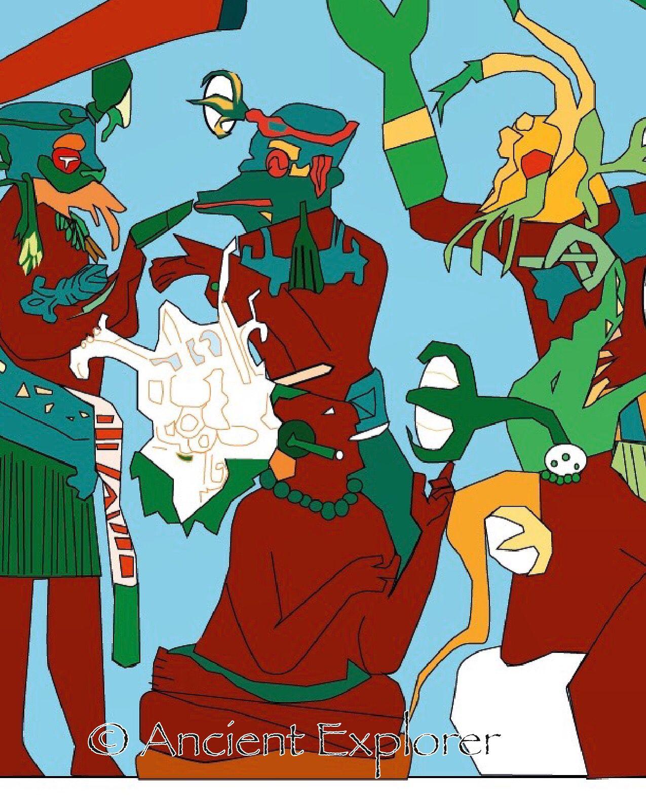 Drawing Based On The Bonampak Murals By Lisa Dunbar Solas