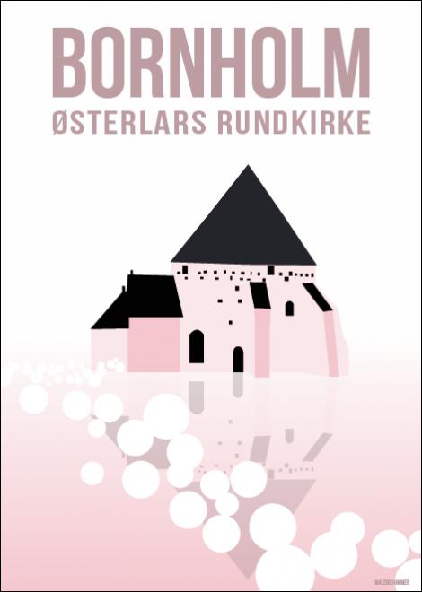 Osterlars Rundkirke Malene Sommer Vintage Plakater Plakater Illustration