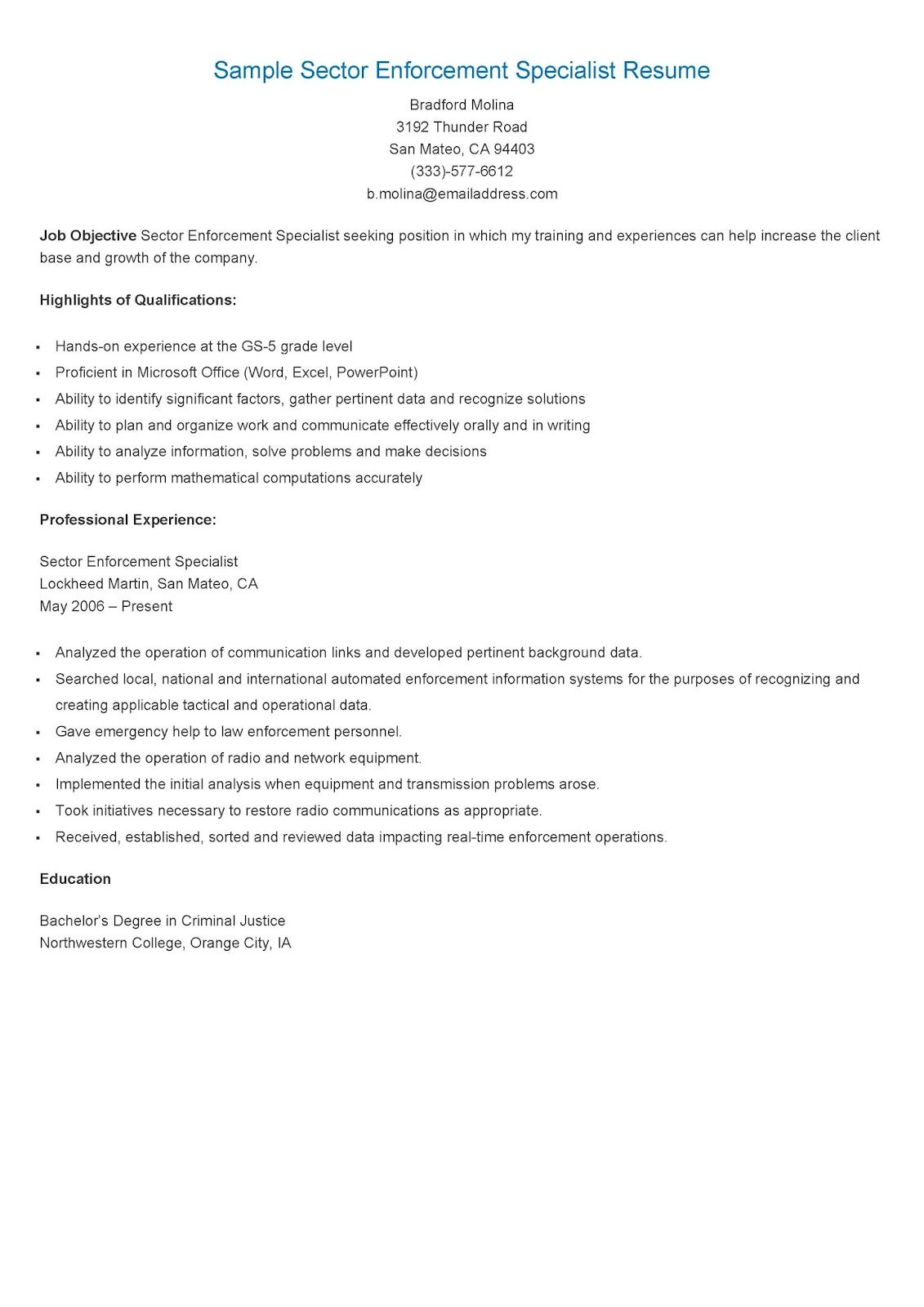 sample sector enforcement specialist resume