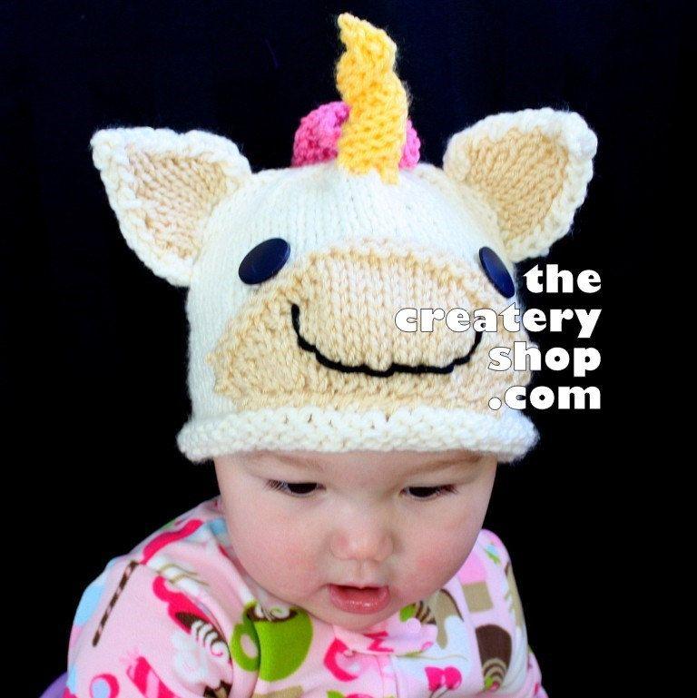 67610079c68 Knitting Pattern Cute Baby Unicorn Hat (PDF).  5.99