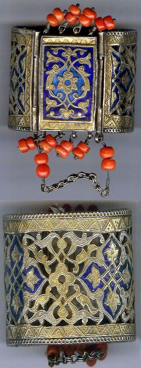 Uzbekistan | Silver gilt openwork cuff with enamel and coral | ca. 19th century.  Bukhara | Posted by Joost Daalder on their Ethnic Jewellery and Adornment FB page.