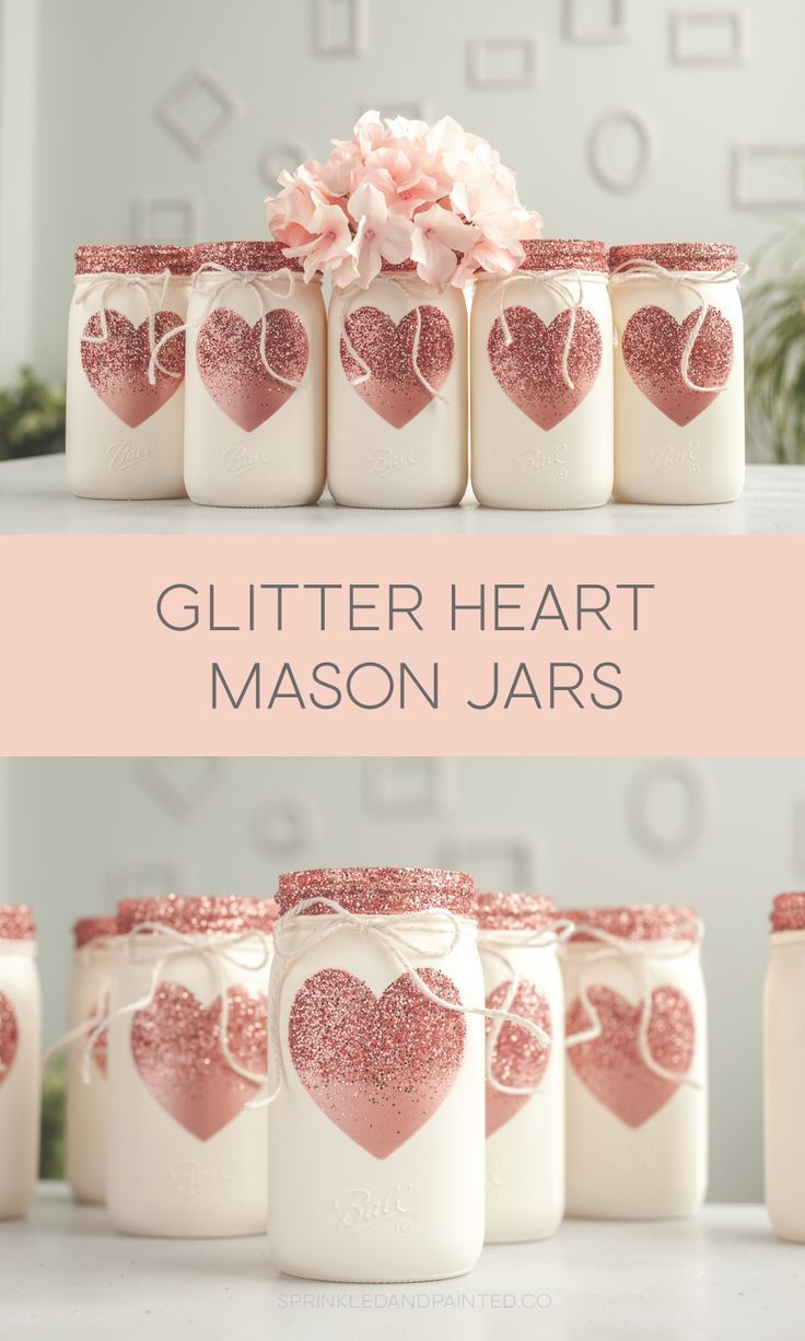 Rose Gold Glitter Heart Painted Mason Jars - #Glitter #Gold #Heart #jar #Jars #M #masonjardecorating