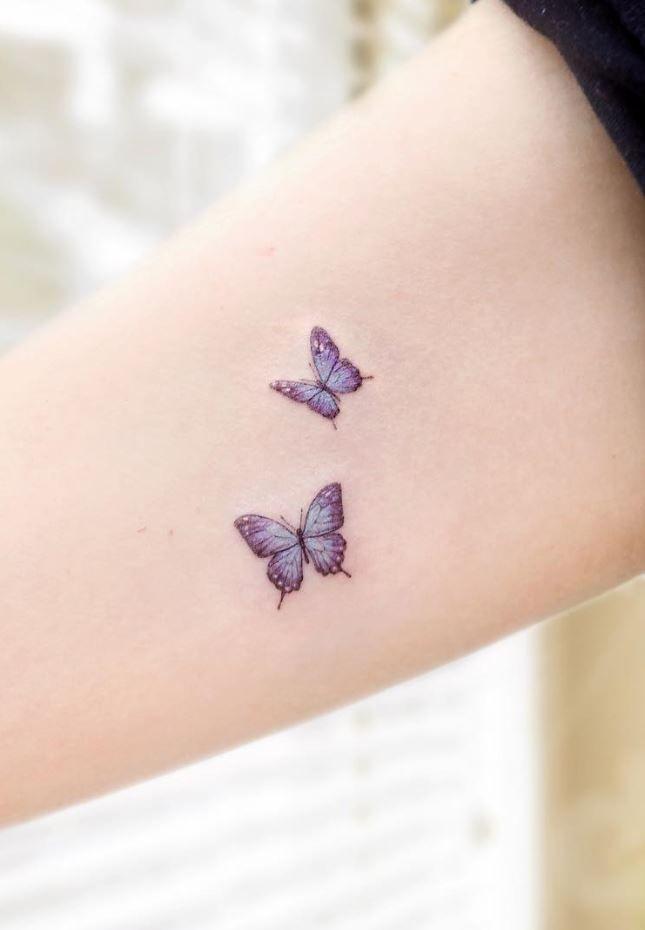 Tiny Butterflies Tattoo Purple Tattoos Tiny Butterfly Tattoo Dainty Tattoos