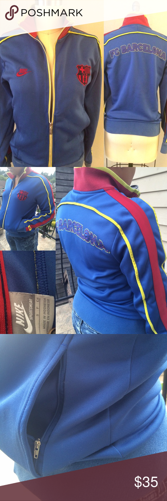 Nike Women's FC Barcelona ⚽️ Jacket Stylish Nike ⚽️ FC Barcelona Jacket •Zipper Pockets •Blue🔵 + Yellow⚠️ + Red🔴 Colors •Great Fit! •Barely worn 👌 ‼️(a small hole on waistband + slight fade from washing ) SEE PICS📸 Nike Jackets & Coats