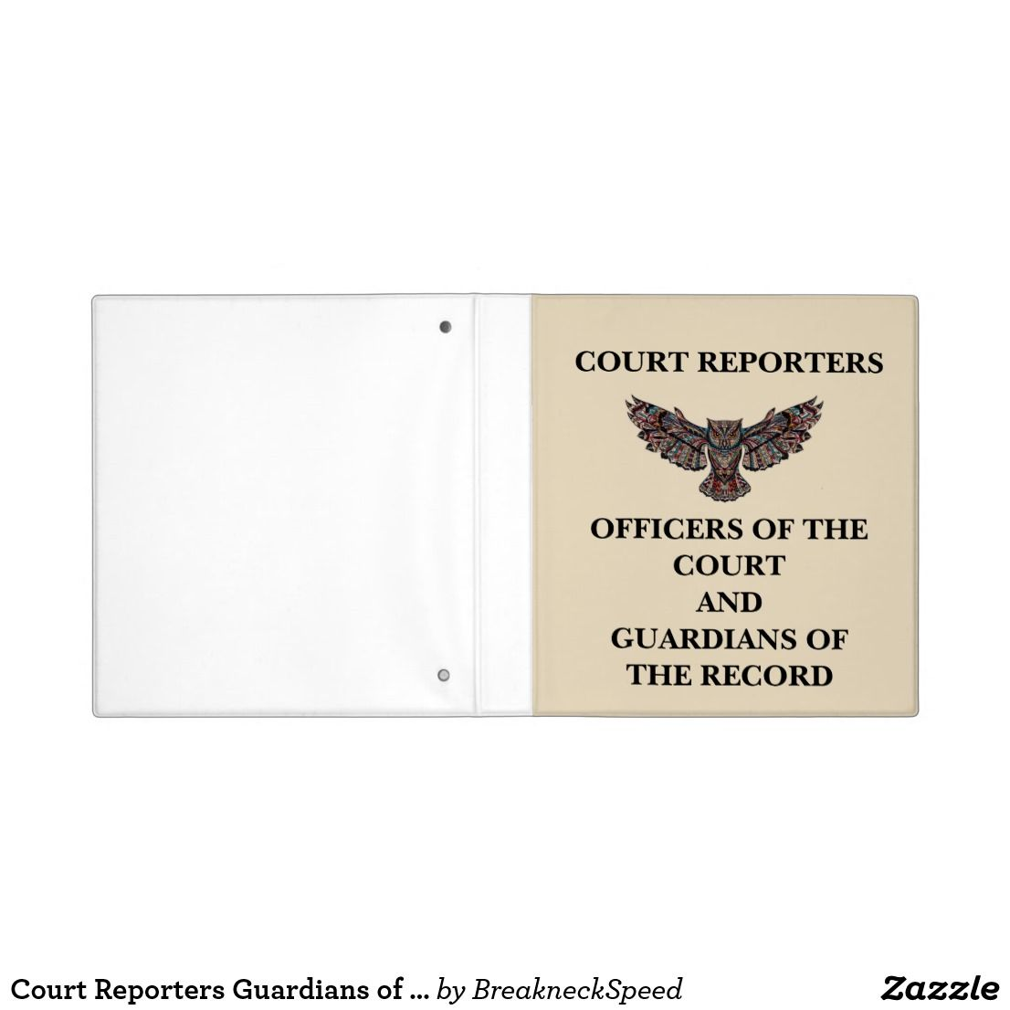 Court Reporters Guardians of the Record Binder | Zazzle ...