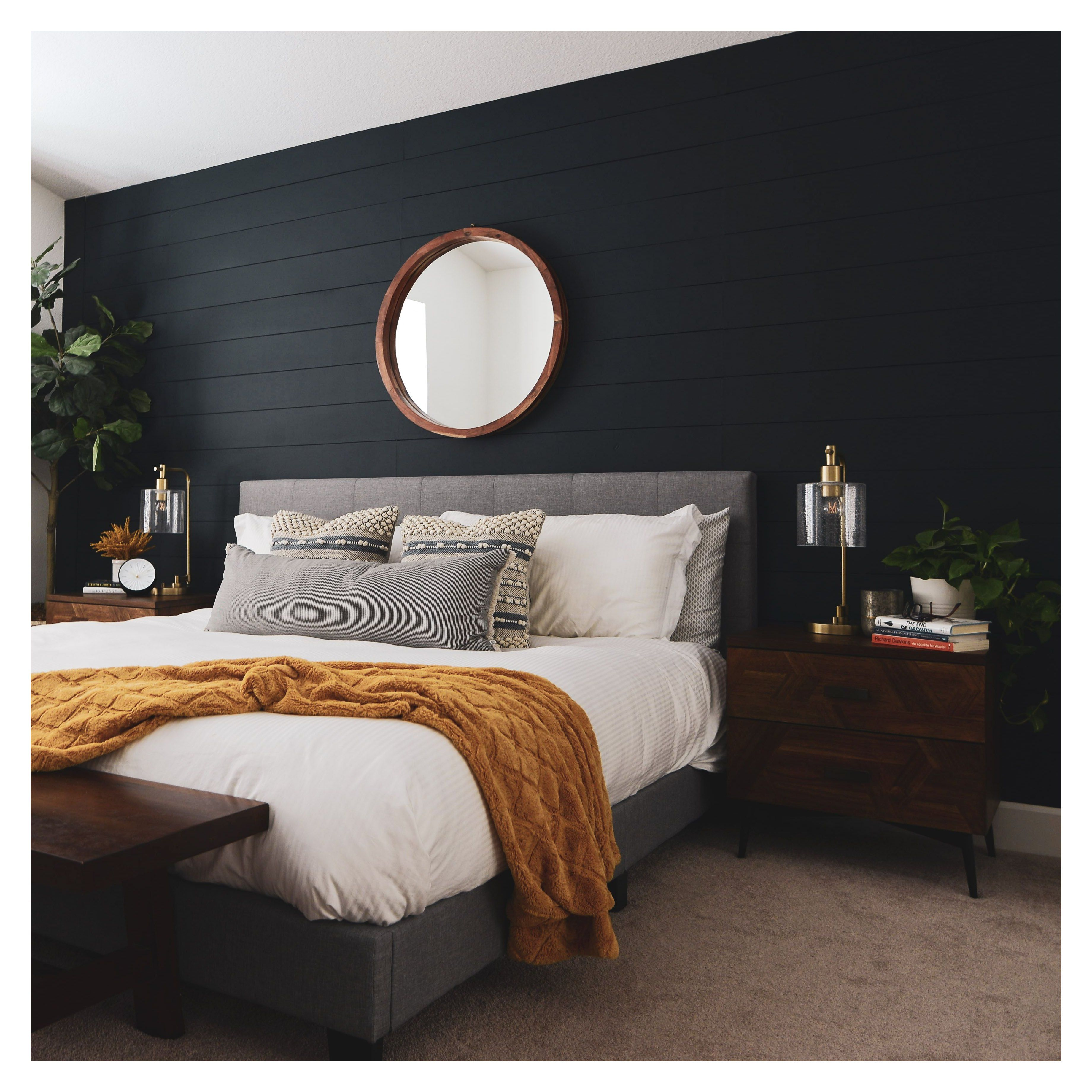 Master Bedroom Navy Accent Wall #navy #accent #wall #bedroom Bay Area design project by Ramona Avenue. Dark Navy accent shiplap wall. Modern, clean, and fun.