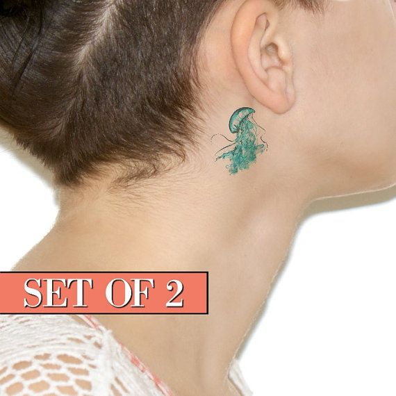 Tiny Watercolour Jellyfish Temporary Tattoo Spring By Siideways