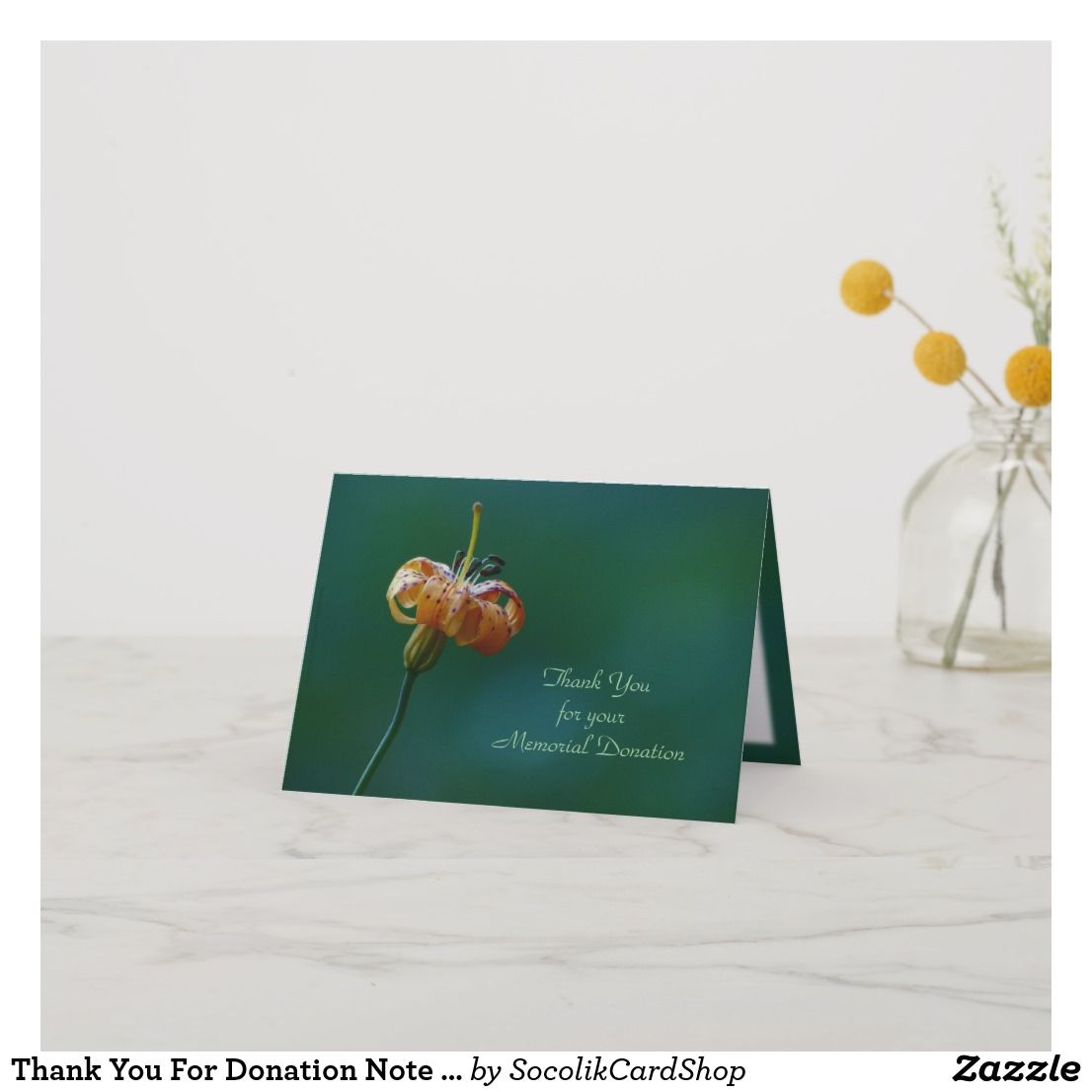 thank you for donation note card yellow lily  zazzle