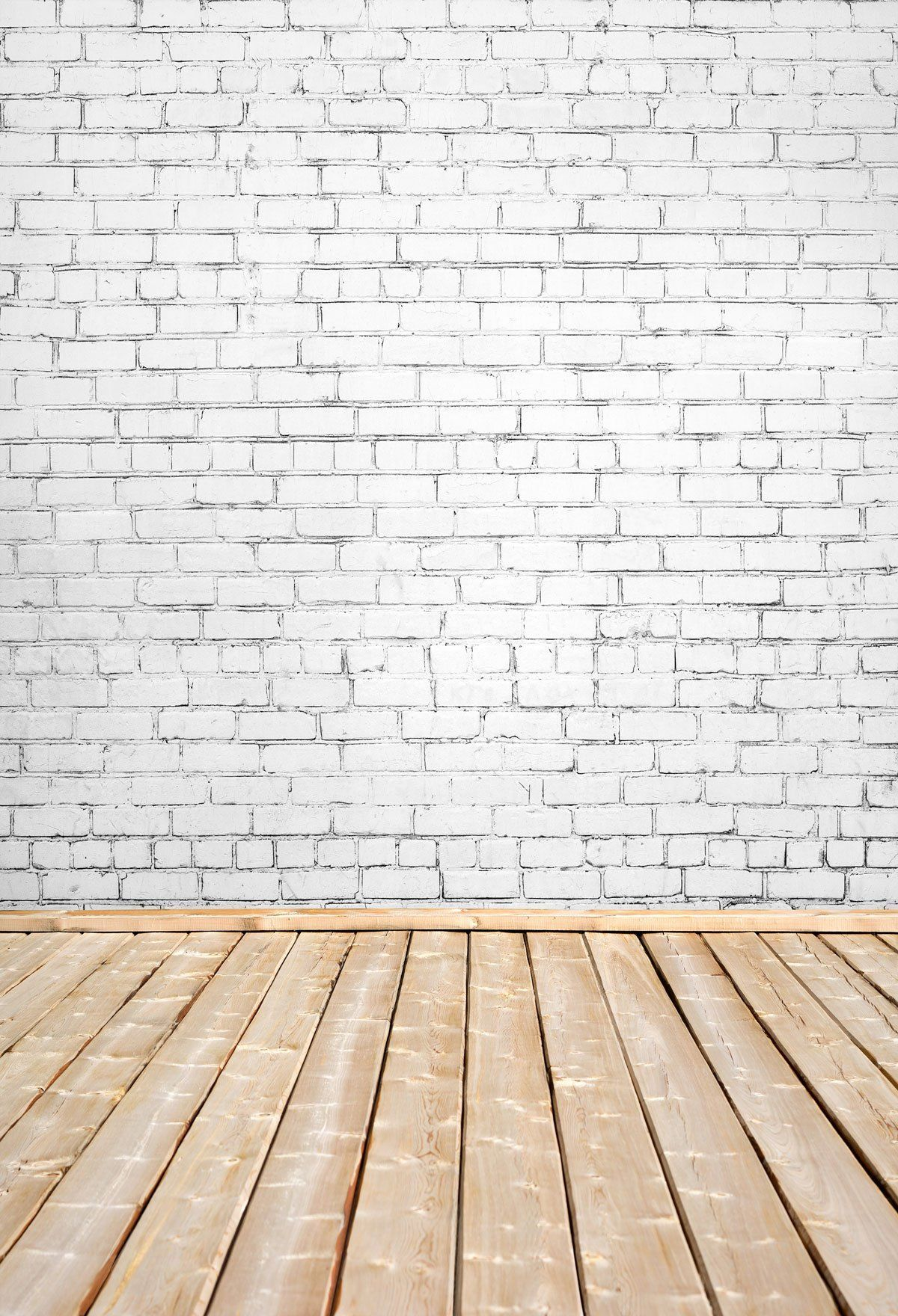 Kate White Brick Wall And Wooden Floor Backdrop For Photography Wooden Wallpaper White Brick Walls Ceiling Paint Colors