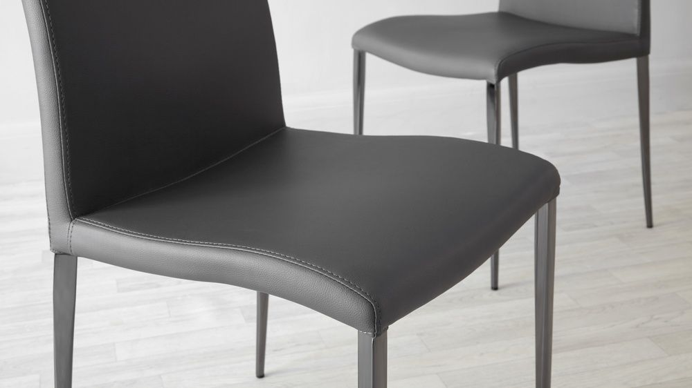 Elise Black Chrome Dining Chair Dining Chairs Faux Leather