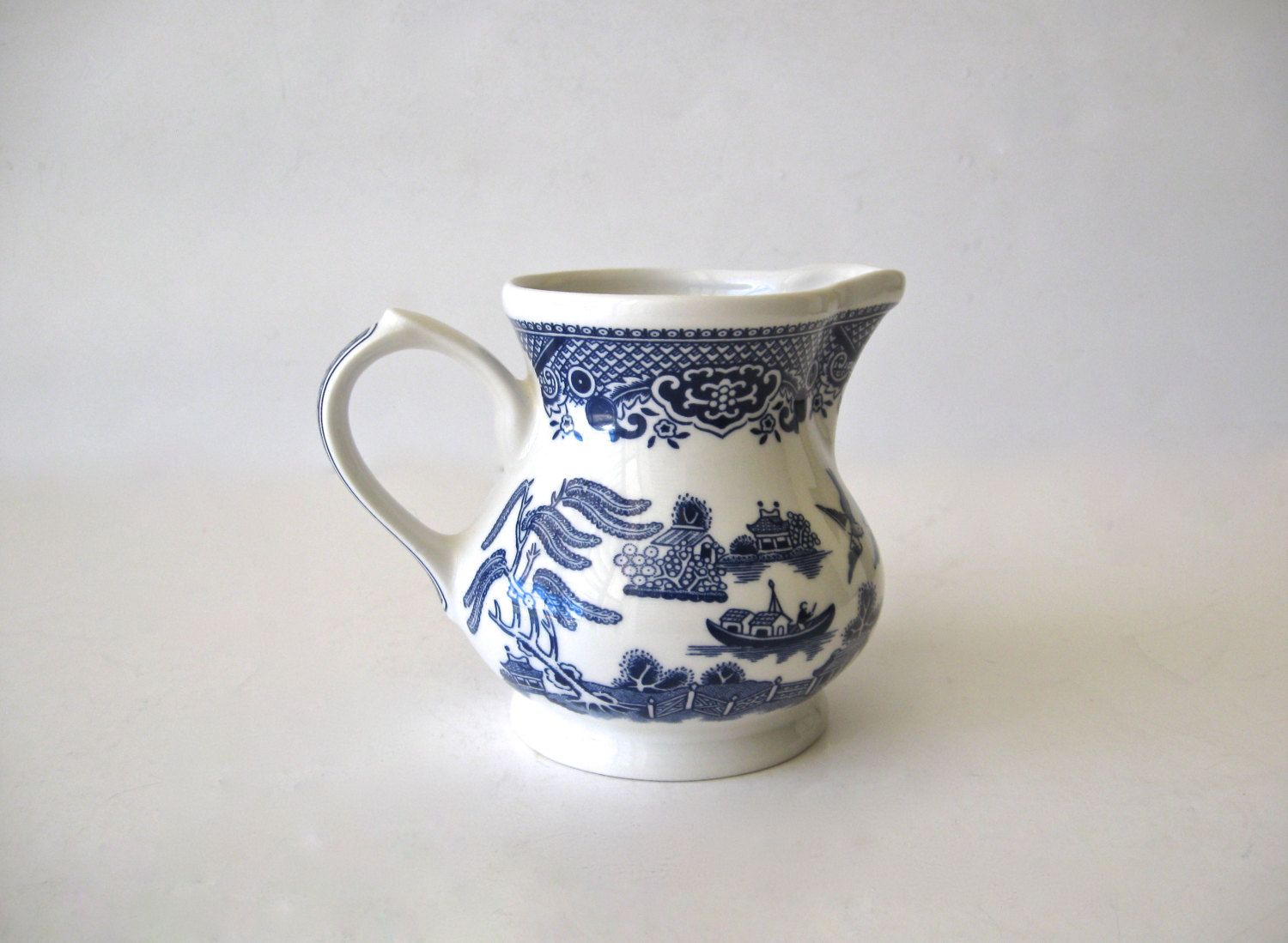 Vintage Churchill Blue Willow Creamer Staffordshire