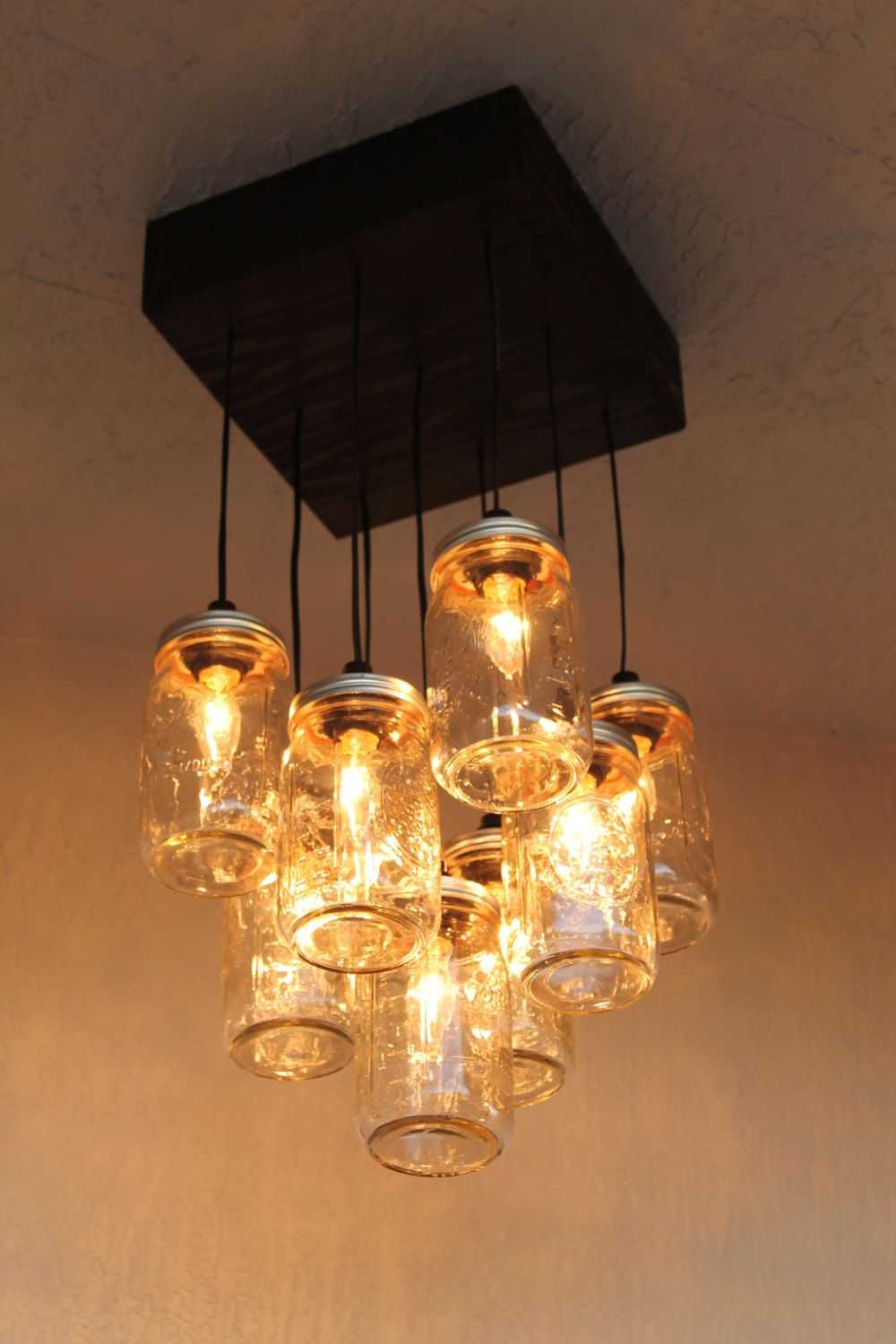 Mason Jar Chandelier The Antuanette Ball Lighting 9 Canning Lamp Rustic By Partyandhomedesign On Etsy