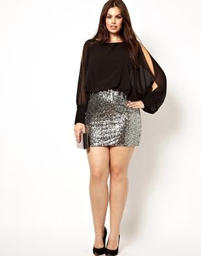 Image 4 of Club L Plus Size Split Sleeve Dress with Sequin Skirt ...