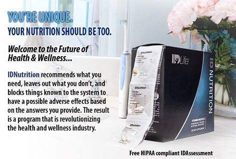 The future of nutritional supplementation is individually designed and IDNutrition is it! Take your FREE Health Assessment and see what science says you need for optimal health. Then order your individually designed pharmaceutical grade, organic, non-gmo, gluten free, casein free daily supplement program for the best life! phcr.idlife.com