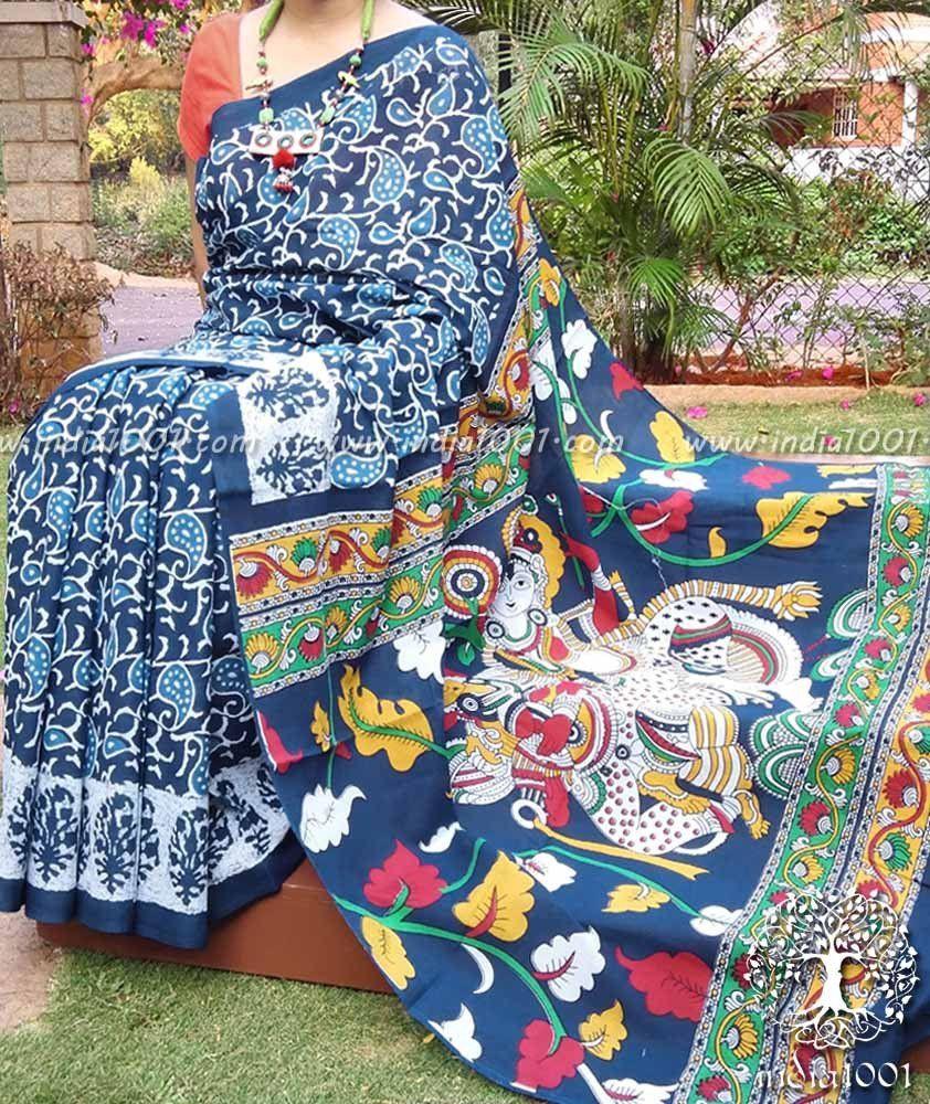Beautiful Printed cotton saree with Kalamkari palla