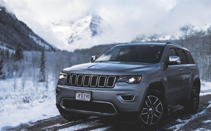 Jeep Grand Cherokee Srt 2017 4k Gray Suv Usa Mountain
