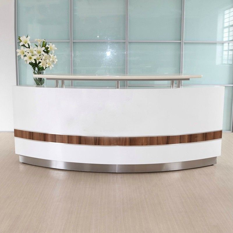 Modern White Curved Nail Salon Reception Desk Cheap Front Desk For