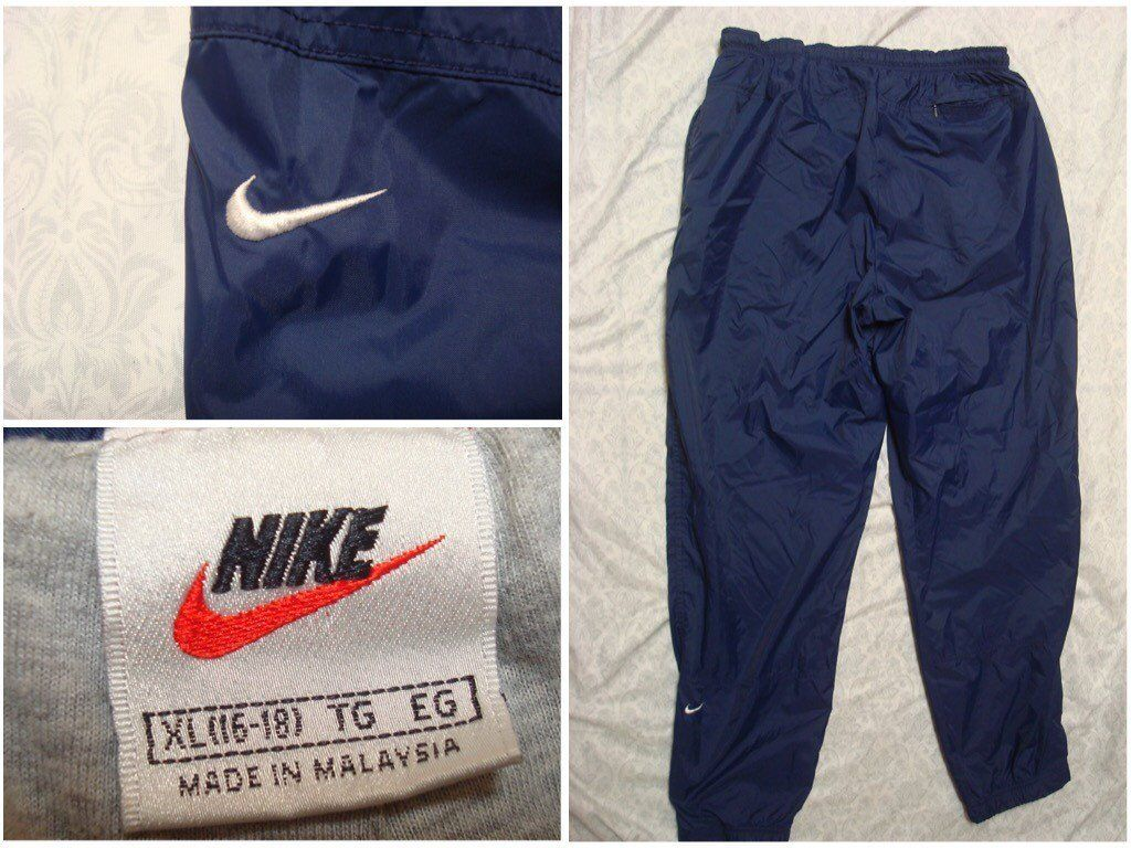 03381bf4229cf Vintage 90's Nike Pants Blue Nylon Lined Windbreaker Joggers Men's ...