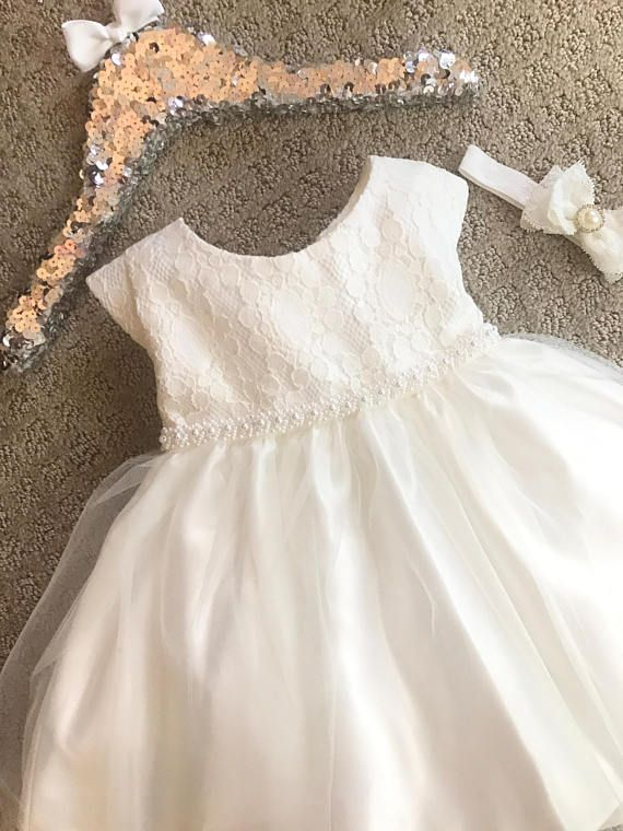 Vintage Baby Baptism Christening Dress with Lace Tulle Toddler ...