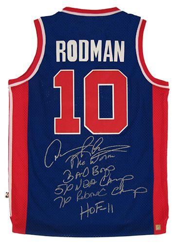 detailed pictures c7d51 534b8 Signed Dennis Rodman Jersey - Blue w 5 Inscriptions   Dennis ...