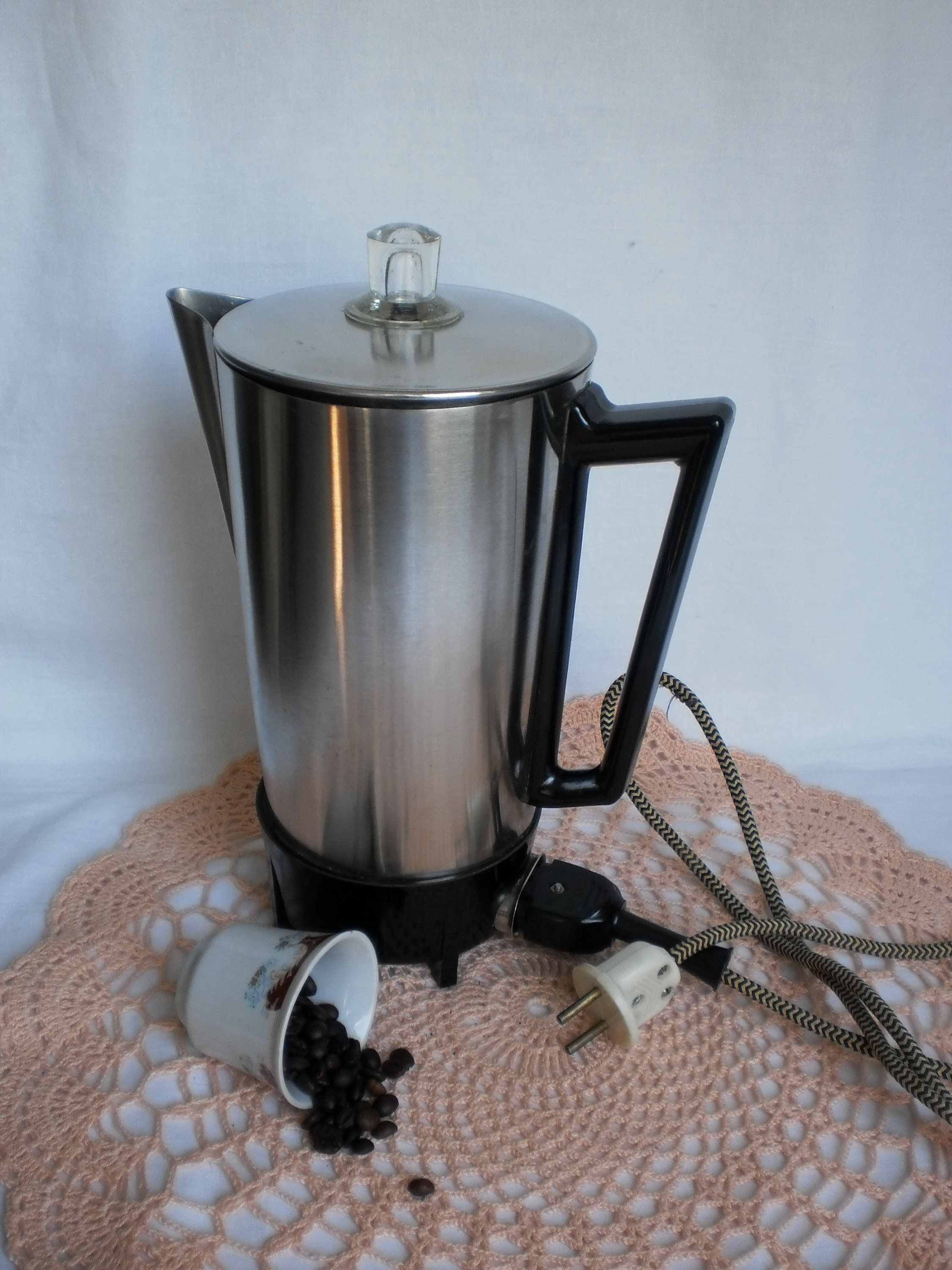 Soviet Retro Coffee Maker Vintage Large Percolator Old Electric Stainless Steel