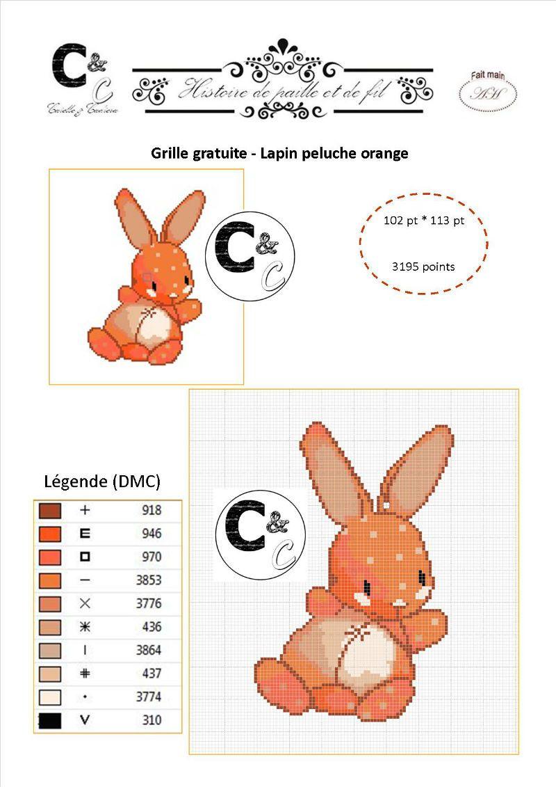 grille gratuite point de croix - doudou lapin