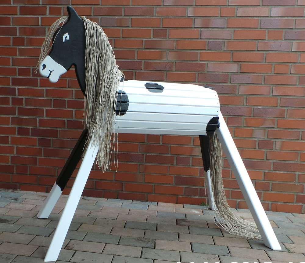 """holzpferd """"donner"""" indianerpony voltigierpferd 75 - 90 cm schecke"""