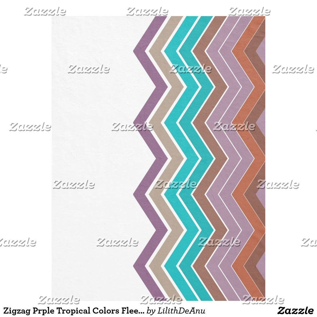 Zigzag Prple Tropical Colors Fleece Blanket
