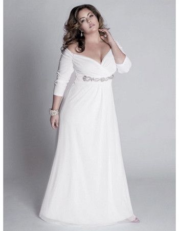 Elegant Off The Shoulder V Neck Length Sleeves Floor Chiffon Plus Size Wedding Dresses Sexy Long Beach Bridal Gowns With Beaded Waist