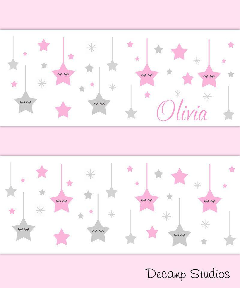 Pink Hanging Stars Baby Girl Nursery Decor Wallpaper Border Etsy Nursery Decor Girl Nursery Decor Wallpaper Baby Girl Nursery Decor