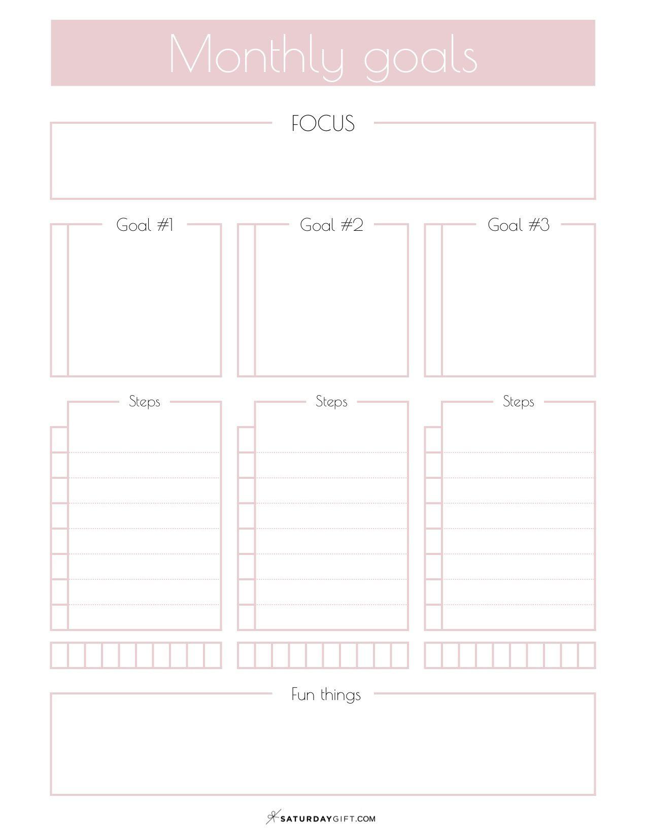 Monthly Goals Planner Sheet Calendar Easily Set
