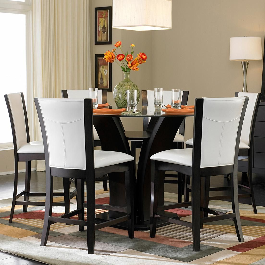 710 7piece counter height glass top dining set