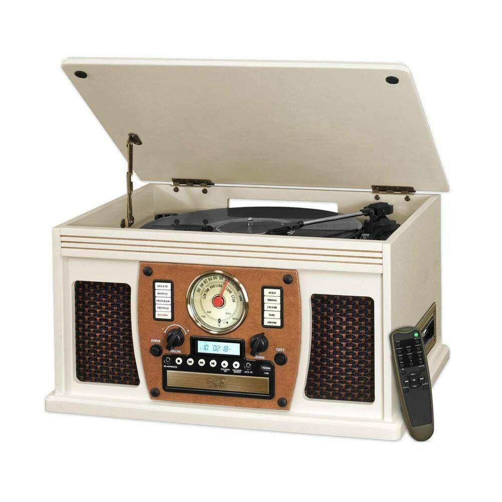 Vintage Retro Turntable Bluetooth Wooden Tuner USB CD