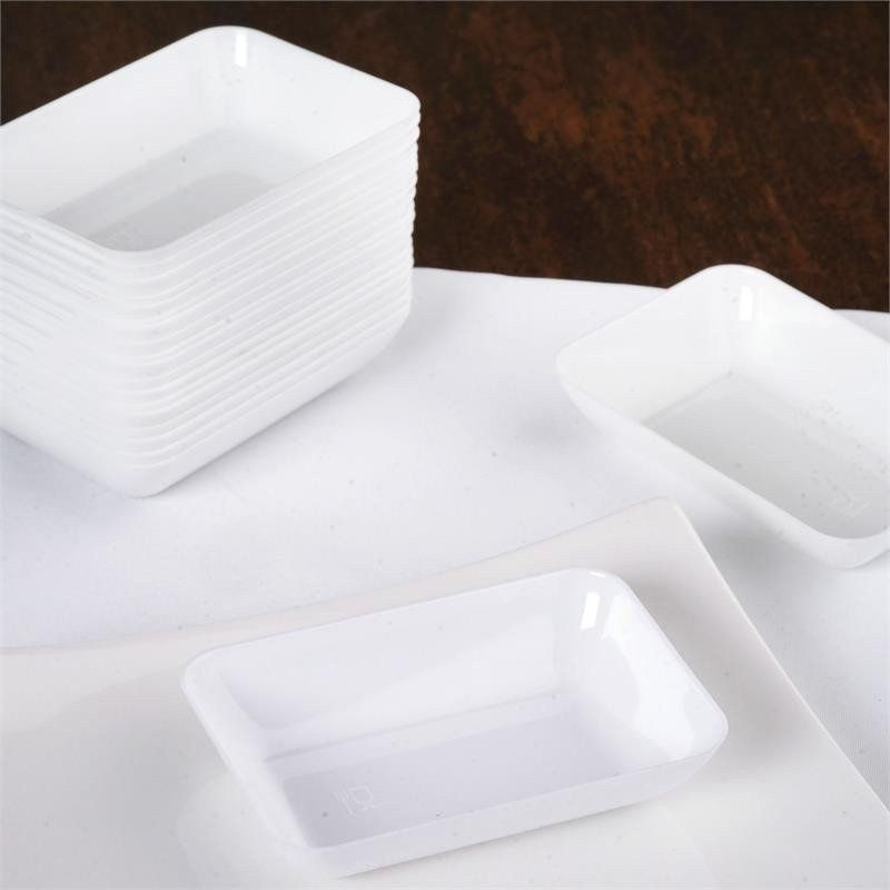 20 Pack - White 2\  x 3\  Rectangle Disposable Dessert Plate / Indulge your & 20 Pack - White 2\