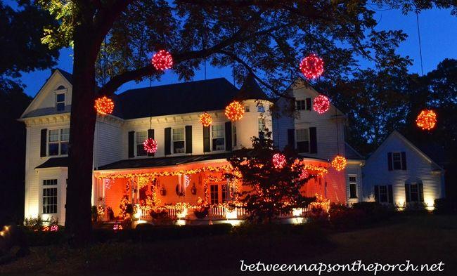 child friendly halloween lighting inmyinterior outdoor. Halloween Lighting. Beautiful Victorian Home Aglow For Lighting Child Friendly Inmyinterior Outdoor