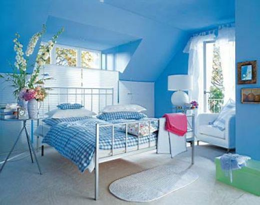 Delicieux This Room Is Dominated By A Soft Powder Blue Color, Along With Light Green  Accents