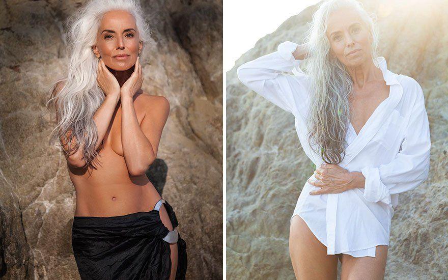 cette mannequin de 61 ans assure dans cette campagne publicitaire pour des maillots de bain. Black Bedroom Furniture Sets. Home Design Ideas