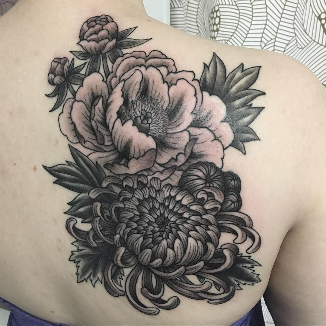 Suzannafisher On Instagram Finished Nicole S Peony And Chrysanthemum Lines And Leaves Are Healed Tattoo Bellwet Chrysanthemum Tattoo Tattoos Cover Tattoo