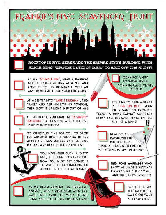 Nyc bachelorette party bar crawl scavenger hunt checklist for Activities for couples in nyc